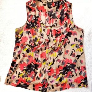 Lane Bryant Sleeveless floral top/ruffled neck